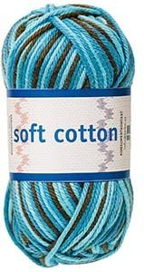 Soft Cotton garn 50g Turkos/petrol/brun