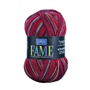 Fame garn - 100g - Röd-randig (614)