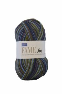 Fame garn - 100g - Jeansblå/mossgrön-randig (609)