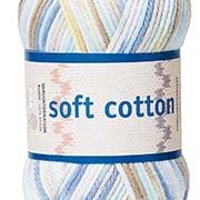 Soft Cotton garn 50g Vit/beige/blå