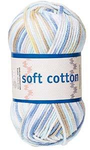 Soft Cotton garn 50g Vit/beige/blå