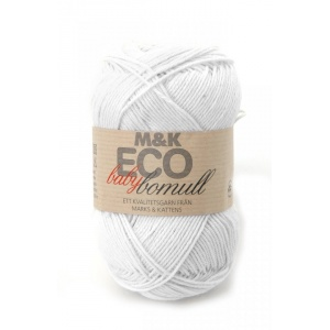 M&K Eco Baby Bomull garn - 50g - vit (912)